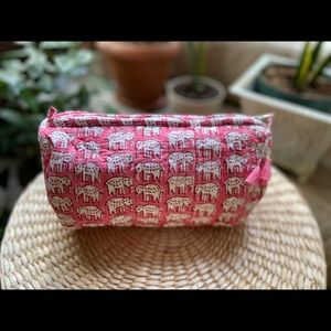 Quilted cotton cosmetic bag